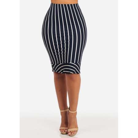 Womens Juniors Ladies Slim Fit High Waist Navy And White Stripe Stretchy Pencil Bodycon Midi Skirt 41207P