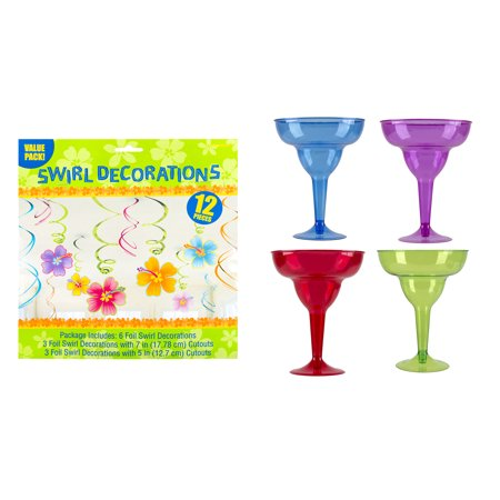 amscan cocktail margarita glasses with luau swirl decorations