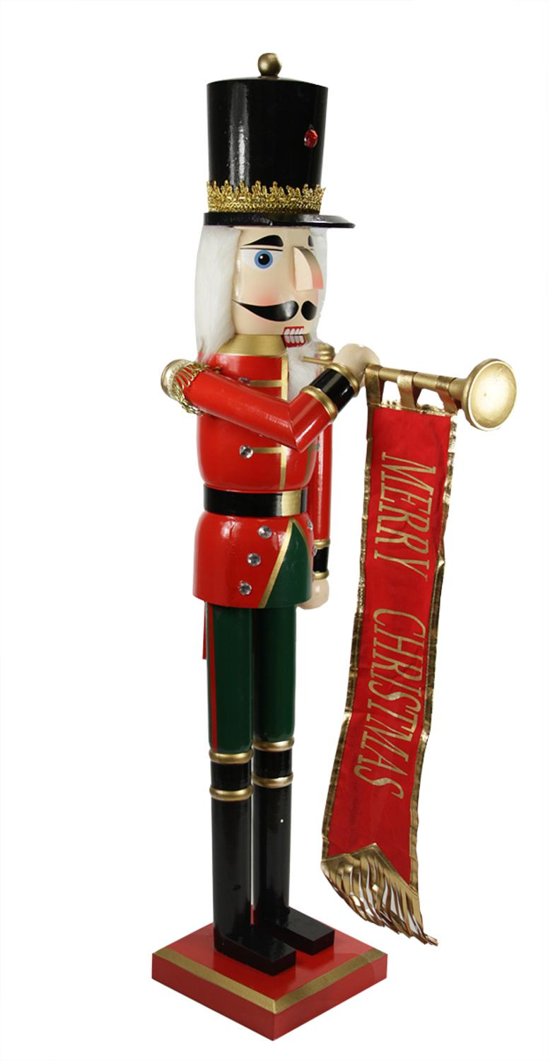 36 Decorative Red Blue and Gold Wooden Christmas Nutcracker Soldier with Banner - Walmart.com