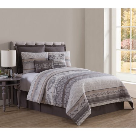 VCNY Home Mateo Jacquard 8-Piece Comforter Bedding Set, Euro Shams and Decorative Pillows Included