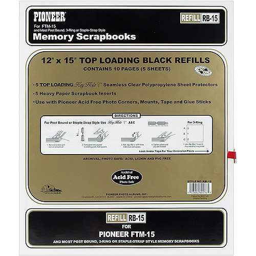 """Postbound Top Loading Page Protectors 5/pkg, 12"""" x 15"""", White Inserts"""