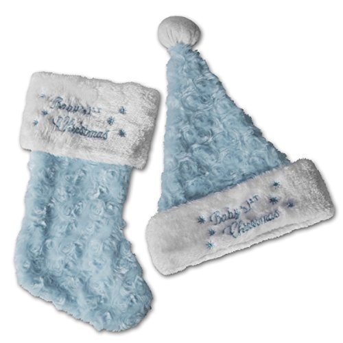 Baby's First Christmas Stocking and Hat, Blue
