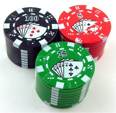 New Novelty Design Poker Chip Herb Grinder with Pollen Catcher, Color May Vary, Included: One Herbal Spice Grinder By... by