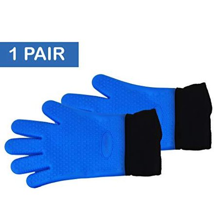 Image of Silicone Gloves / Long Safety Length silicone oven mitts / Double-layer Heat Resistant Kitchen Gloves / BBQ Gloves, Grilling gloves, Cooking gloves, Baking gloves - Non-Slip, Potholder, Ov