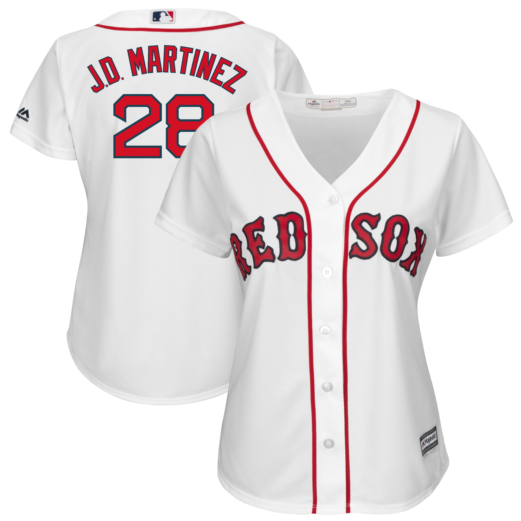 Boston Red Sox Majestic Women's Cool Base Player Jersey White by MAJESTIC LSG
