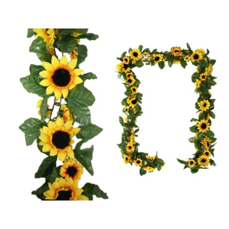 BalsaCircle Yellow 6 ft 3D Chain Sunflower Silk Garland - Wedding Party Home Decorations Centerpieces Arrangements](Sunflower Decorations)