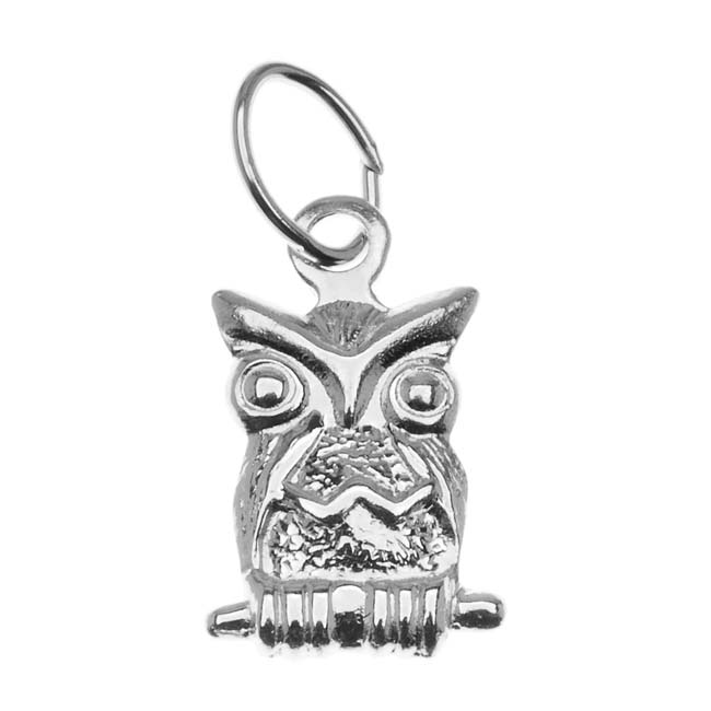Sterling Silver Lightweight Perched Owl Charm 11mm (1)