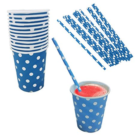 Blue And White Polka Dot Paper Cup And Straw Set- Pack Of 24- Includes 12 Polka Dot Cups And 12 Polka Dot Straws. Great for Parties, Birthdays, Holidays And Much More!! - White Straws