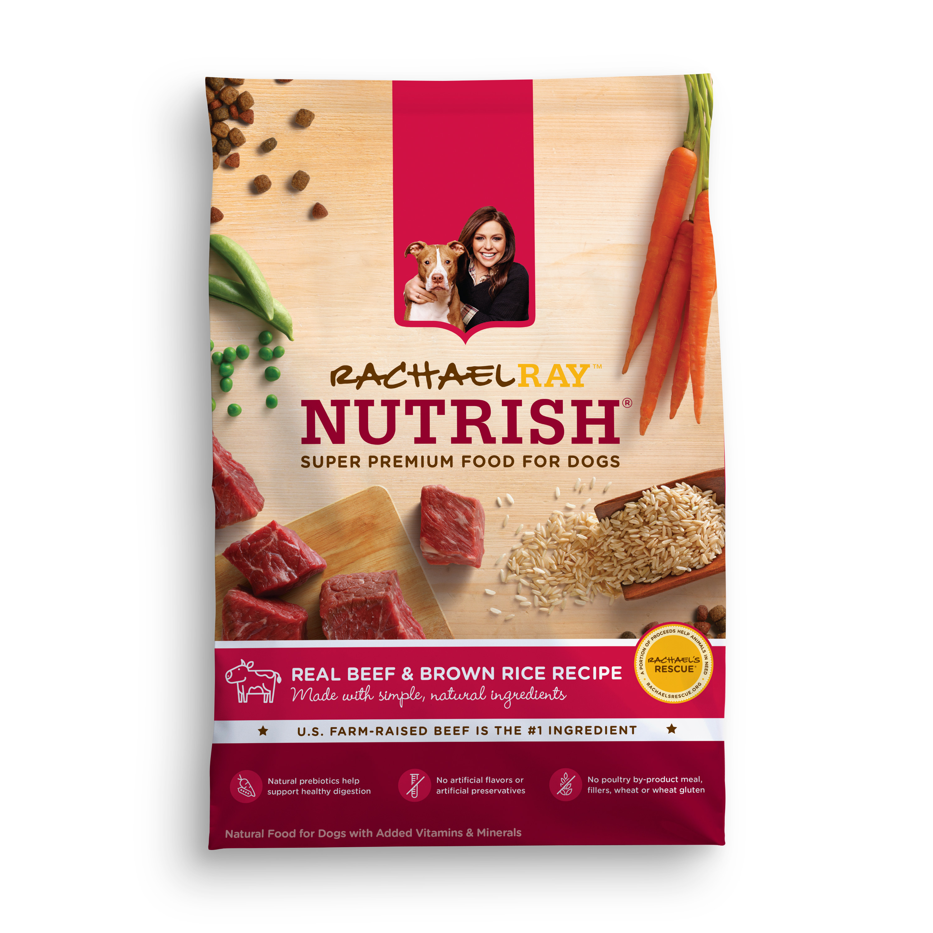 Rachael Ray Nutrish Natural Dry Dog Food, Real Beef and Brown Rice Recipe, 28 lbs
