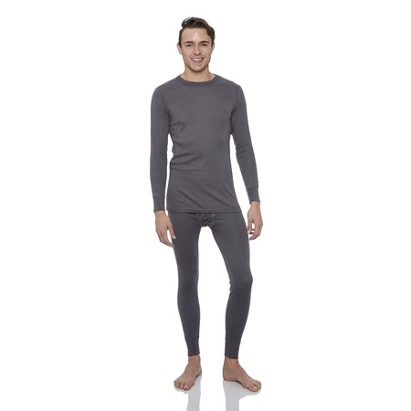 Rocky Men's Thermal 2pc Set Long John Underwear Smooth Knit (Large, Charcoal)