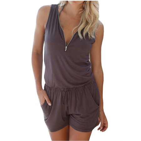 Light Up Body Suit (V-neck Zipper Sleeveless Solid jumpsuit Short Elastic Waist)