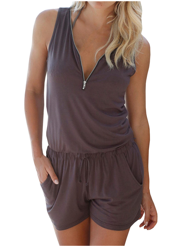 V-neck Zipper Sleeveless Solid jumpsuit Short Elastic Waist Bodysuit