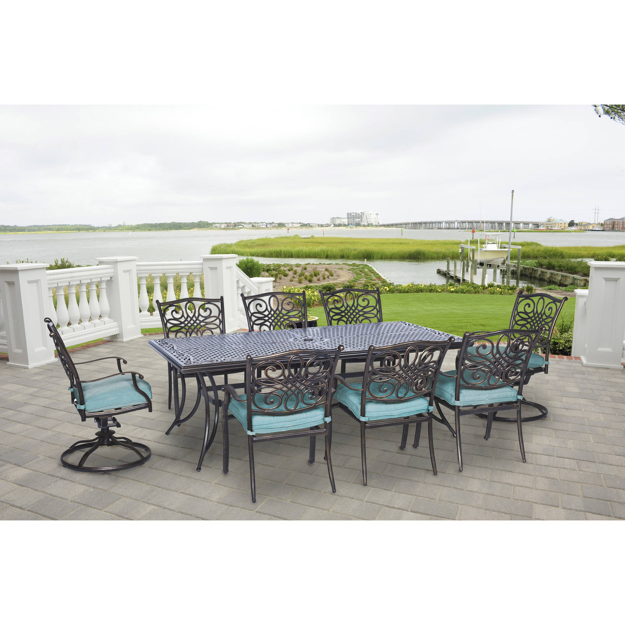 Hanover Traditions 9-Piece Cast-Top Outdoor Dining Set with 2 Swivel Rockers