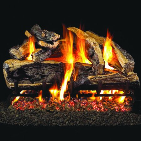 Charred Split Vented Natural - Peterson Real Fyre 30-inch Charred Rugged Split Oak Log Set With Vented Natural Gas G4 Burner - Match Light