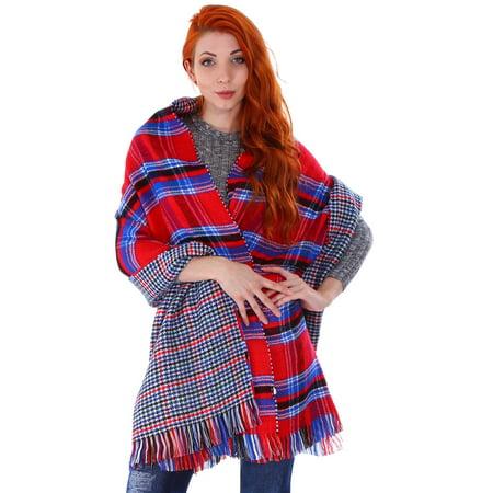 Women Blanket Oversized Tartan Scarf Wrap Shawl Plaid  7206 Red