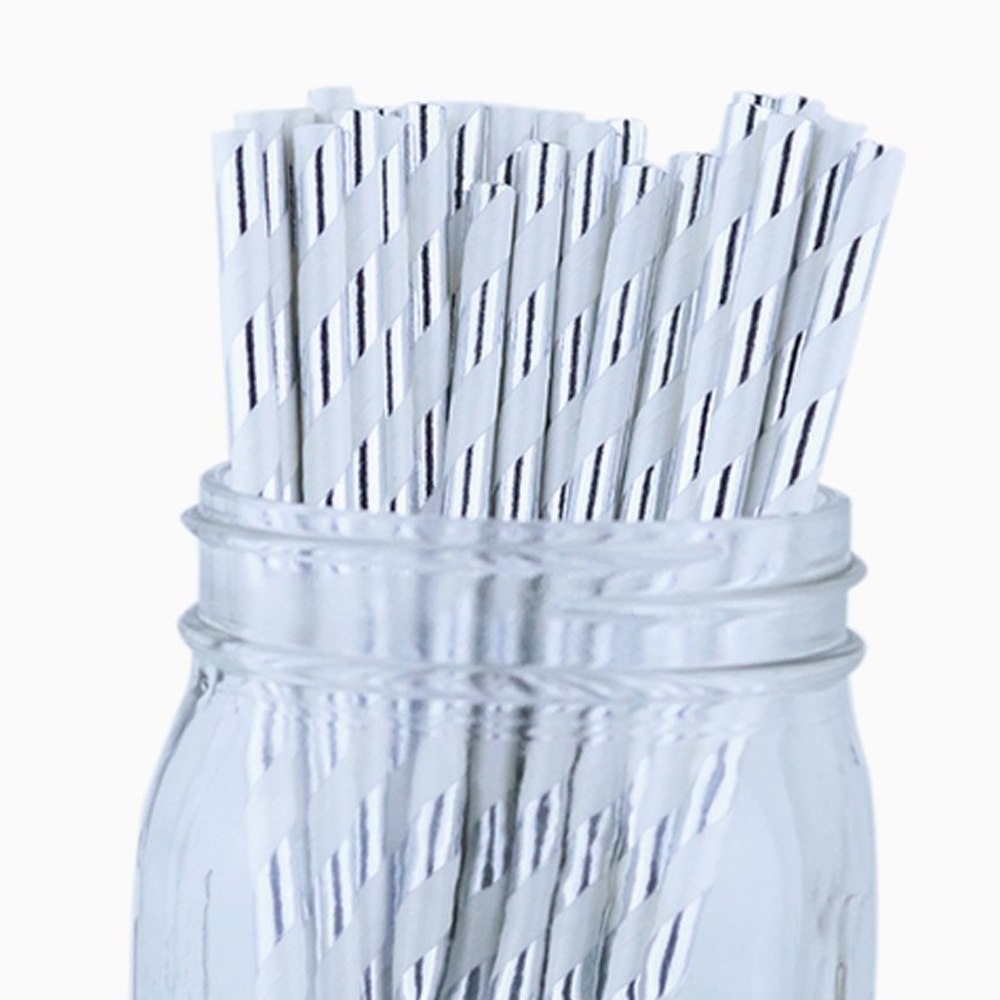 Just Artifacts 100pcs Decorative Striped Paper Straws (Striped, Metallic Silver)