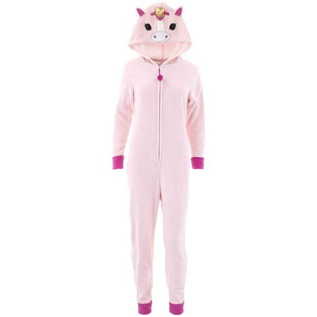 PJ Couture Women's Unicorn Hooded One-Piece Pink Pajamas
