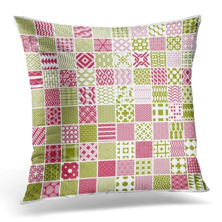 ARHOME Bricks Graphic Red and Green Ornamental Tiles Collection of Repeated Patterns 100 Vintage Abstract Pillow Case Pillow Cover 18x18 inch Green Abstract Tile