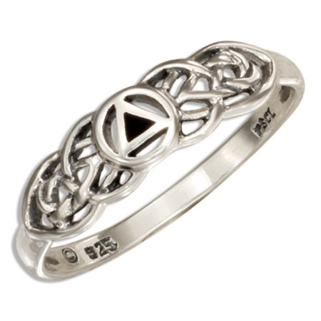 Celtic Knots And Symbols (STERLING SILVER AA RECOVERY SYMBOL RING WITH CELTIC KNOTS )