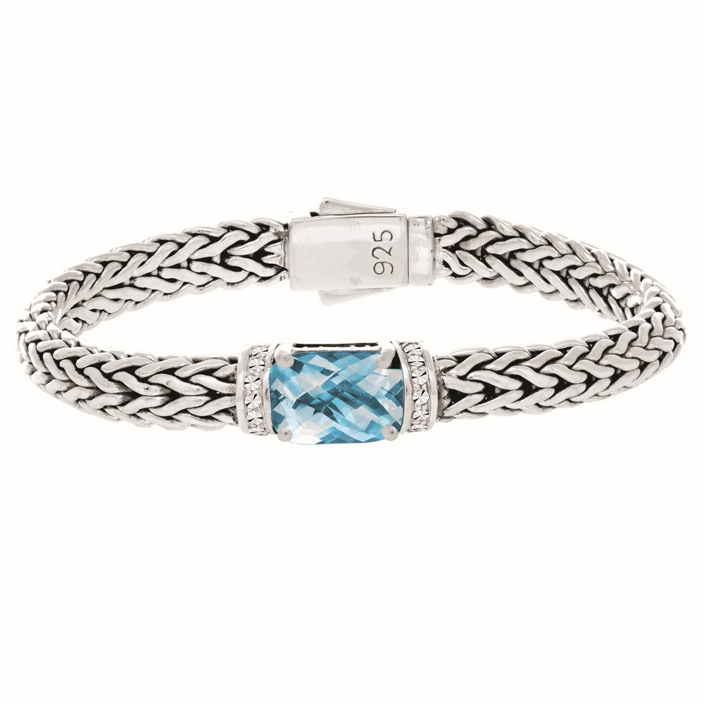 Sterling Silver 7.5 Inch 7x14mm Dome Weave Bracelet 9x11 Faceted Blue Topaz 1.6mm White Sapphire by
