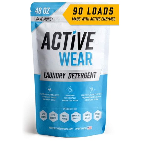 Active Wear Laundry Detergent for Workout & Sports Clothes - Natural Powder Wash Enzyme Booster & Hypoallergenic Sweat