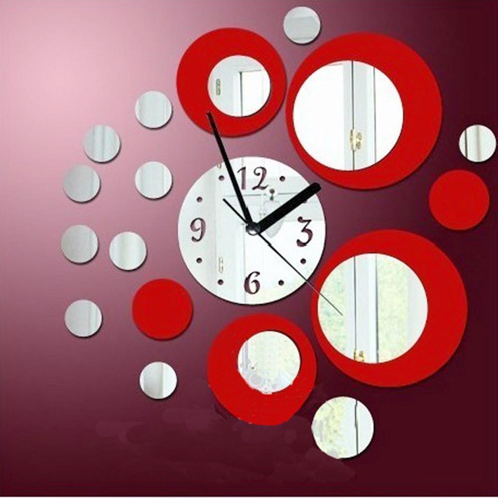 Modern Circles Acrylic Mirror Style Wall Clock Removable Decal Art Sticker Decor