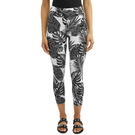 Women's Printed Capri Legging - Button Cuff Legging