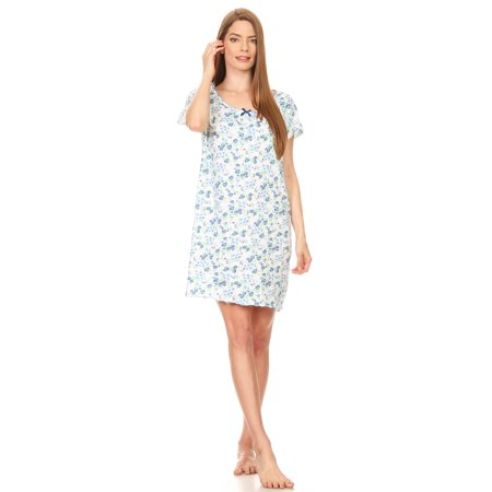 913 Womens Nightgown Sleepwear Cotton Pajamas - Woman Sleeveless Sleep Dress Nightshirt Blue 2X ()