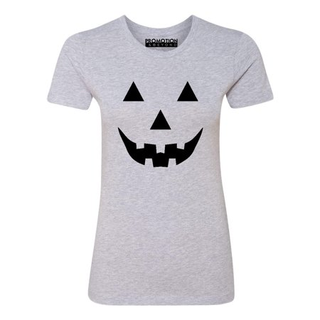 P&B Jack O Lantern Pumpkin Face Funny Halloween Women's T-shirt, S, H. Grey - Red And White Halloween Faces