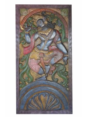 Mogul Antique Vintage Hand Carved Krishna Dance On Snake Kaliya Panel Barn Door Wall sculpture