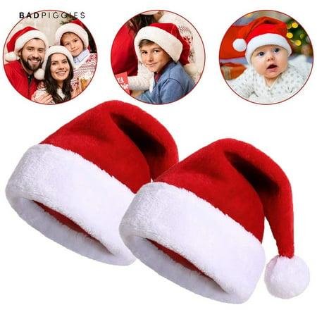 BadPiggies 2Pack Santa Hats Christmas Holiday Hats for Adults and Kids Winter Plush Xmas Santa Hats Cap for Christmas New Year Festive Party Supplies ()