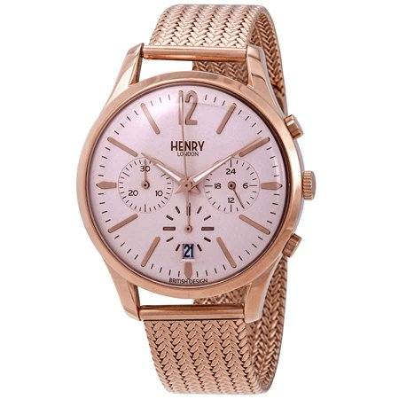 Henry London Shoreditch Pink Dial Chronograph Unisex Watch HL39-CM-0168
