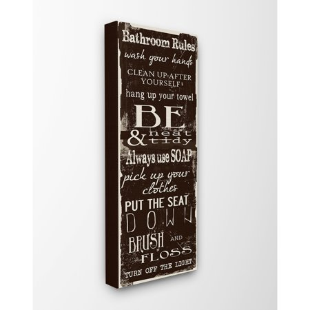 Stupell Industries Bathroom Rules Chocolate White Canvas Wall - Chocolate Plaque
