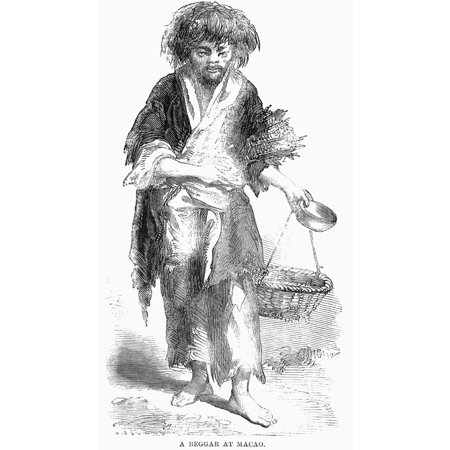 Macao Beggar 1859 Na Beggar In Macao The Portuguese Colony On The Coast Of China Wood Engraving English 1859 Rolled Canvas Art     24 X 36