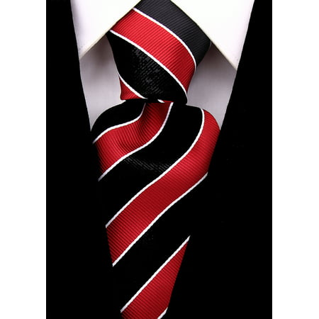 scott allan mens college striped - Necktie Black Striped Design