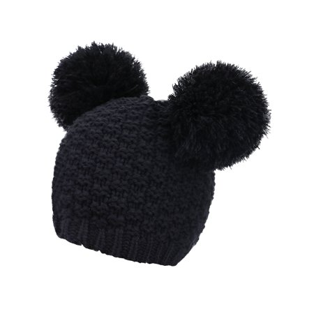 e1a939b12 Women's Warm Wool Knit Fuzzy Double Pompom Winter Beanie Hat, Black
