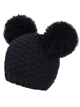 8e8283656d6174 Product Image Women's Warm Wool Knit Fuzzy Double Pompom Winter Beanie Hat,  Black