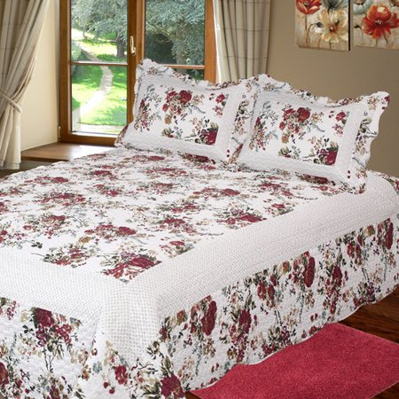 Image of Bay colony quilts by Patch Magic Bella Rosa Queen Quilt with two pillow shams set