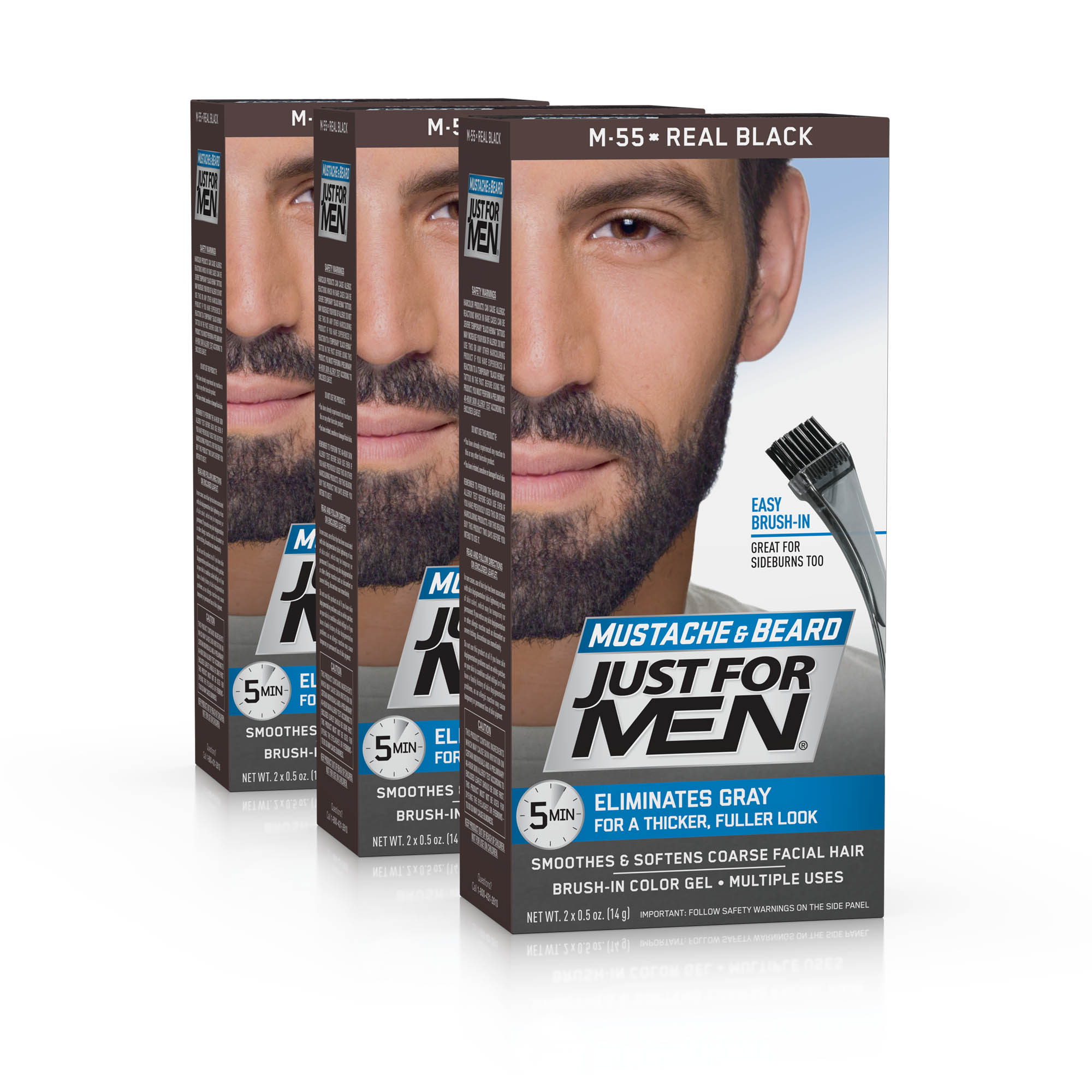 Just For Men Mustache and Beard, Easy Brush-In Facial Hair Color Gel, Real Black, Shade M-55 (Pack of 3)