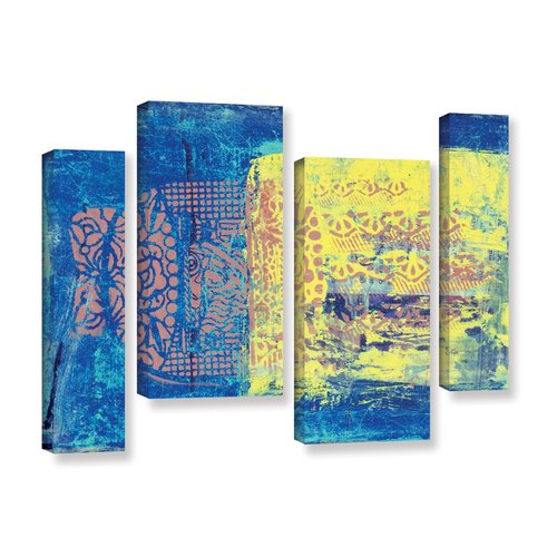 ArtWall Blue With Stencils by Elena Ray 4 Piece Painting Print on Wrapped Canvas Set by Art Wall