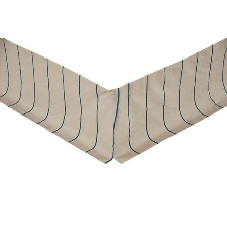 Greige Azure Tan Farmhouse Bedding Charlotte Cotton Linen Blend Split Corners Tailored Striped Twin Bed (Split Cotton Blend)