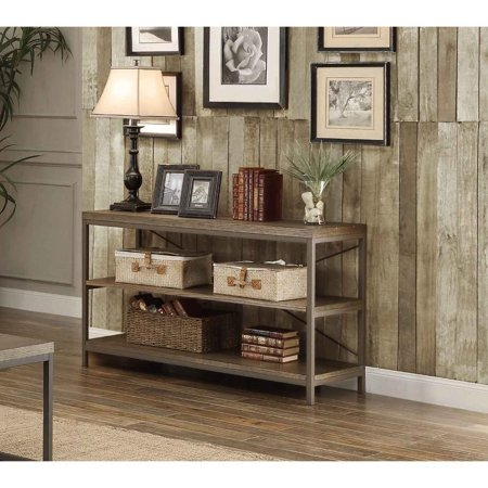 Rectangular Sofa Table In Metal Frame With Grey Weathered Wood And Shelves, Grey ()