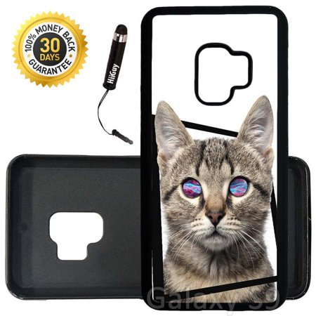 Custom Galaxy S9 Case (Mysterious Cat Nebula Eyes) Edge-to-Edge Rubber Black Cover Ultra Slim | Lightweight | Includes Stylus Pen by Innosub (Slim Cat Eye Sonnenbrille)
