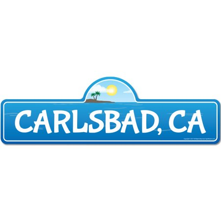 Carlsbad, CA California Beach Street Sign   Indoor/Outdoor   Surfer, Ocean Lover, Décor For Beach House, Garages, Living Rooms, Bedroom   Signmission Personalized (Carlsbad Mall)