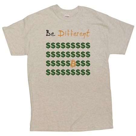 Mens Bitcoin Be Different  Stand Out T Shirt