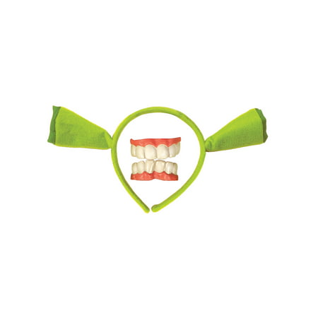 Shrek Teeth Green Ears Ogre Headband Cartoon Adult Child Costume Accessory Kit