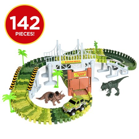 Best Choice Products 142-Piece Kids Toddlers Big Robot Dinosaur Figure Racetrack Toy Playset w/ Battery Operated Car, 2 Dinosaurs, Flexible Tracks, Bridge - Green