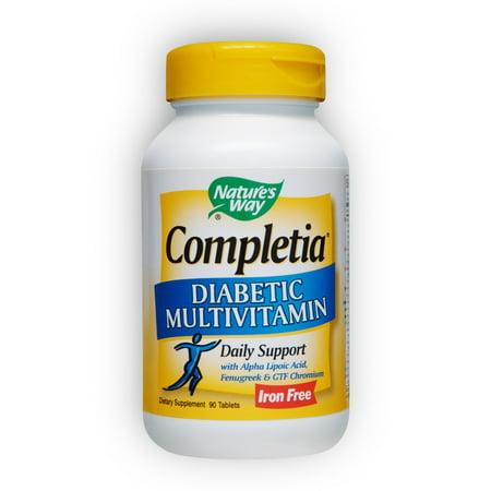Natures Way Completia DIABETIC Multi-Vitamin w/Alpha Lipoic Acid Cinnamon & Fenugreek 90