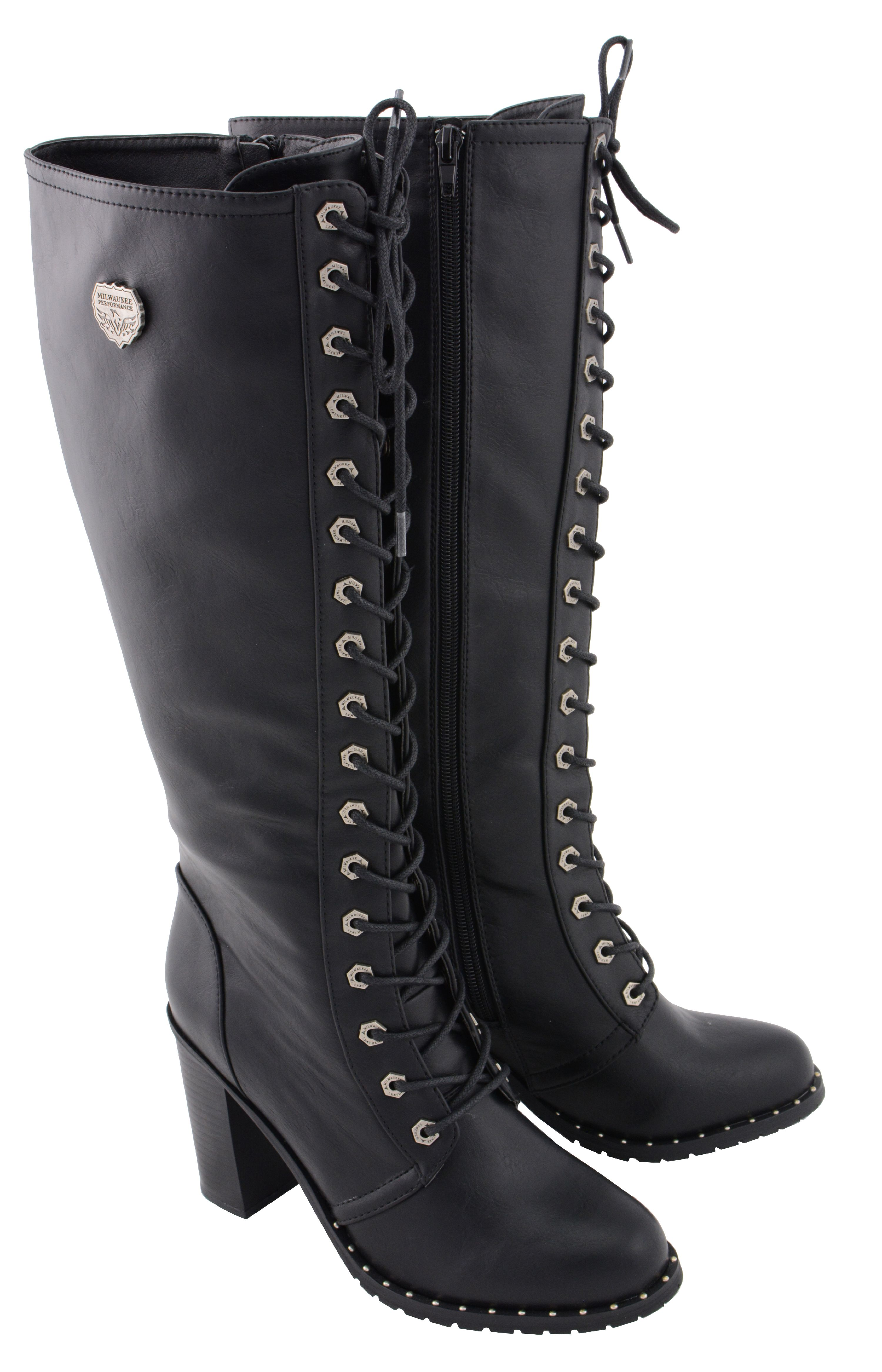 Milwaukee Performance MBL9442 Women Black Lace-Up Tall Boots with Platform Heel 9