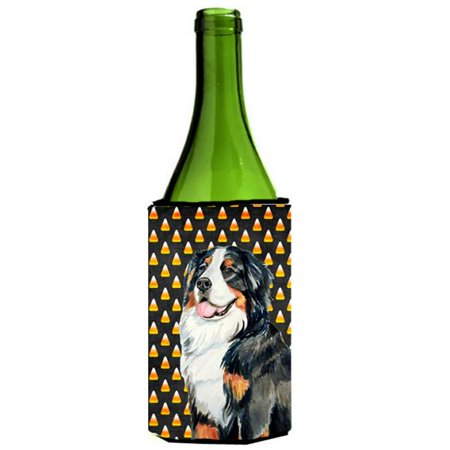 Bernese Mountain Dog Candy Corn Halloween Portrait Wine bottle sleeve Hugger - 24 - Wine Bottle Cork Halloween Costume